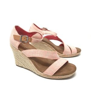Toms Clarissa Wedge Sandal Tangerine Orange 7.5